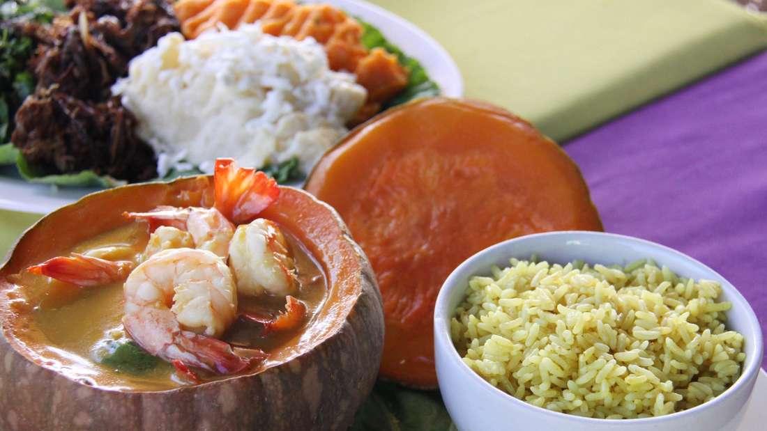 Spezialität in der Oficina do sabor: Krabben mit Mango-Creme im Kürbis. WM-Spielort Recife Brasilien