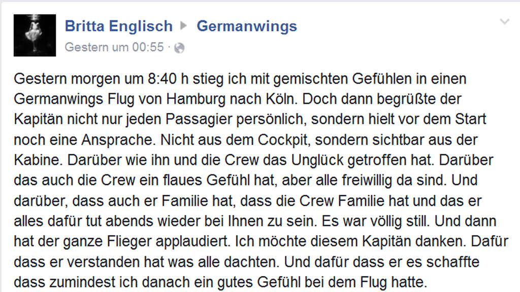 Germanwings Pilot Passagiere Facebook Post