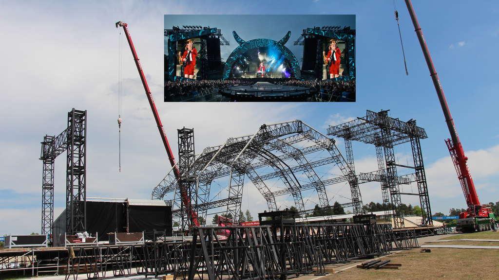 Hockenheim Der Aufbau Der Bühne Für Das Konzert Von Acdc Auf Dem