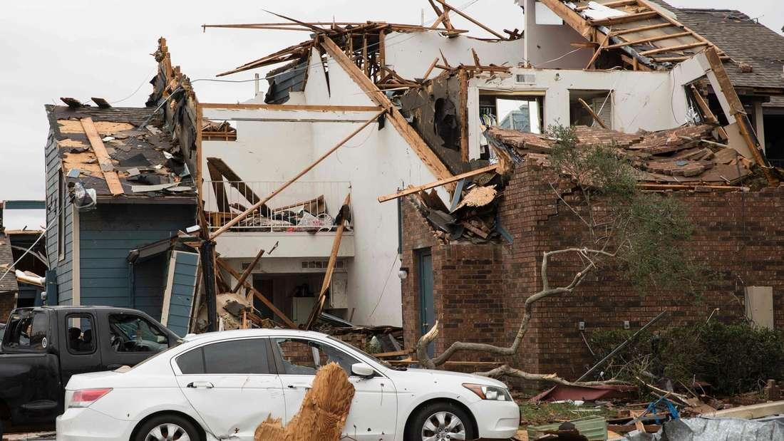Ein zerstörtes Haus nach einem Tornado in Texas.