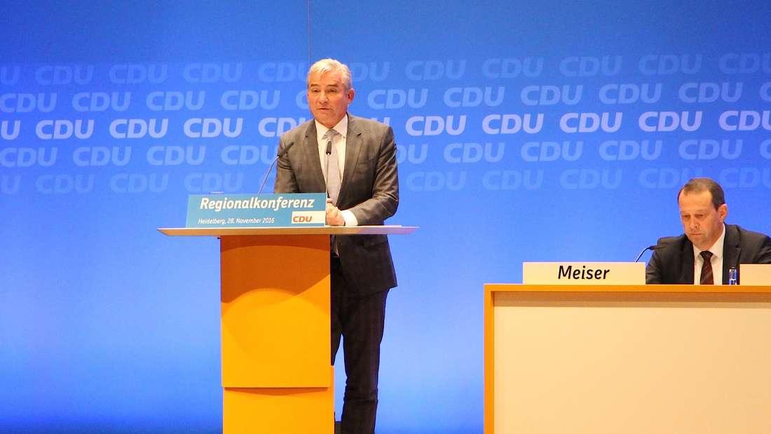 Baden-Württembergs CDU-Chef Thomas Strobl (56) begrüßt die Gäste.