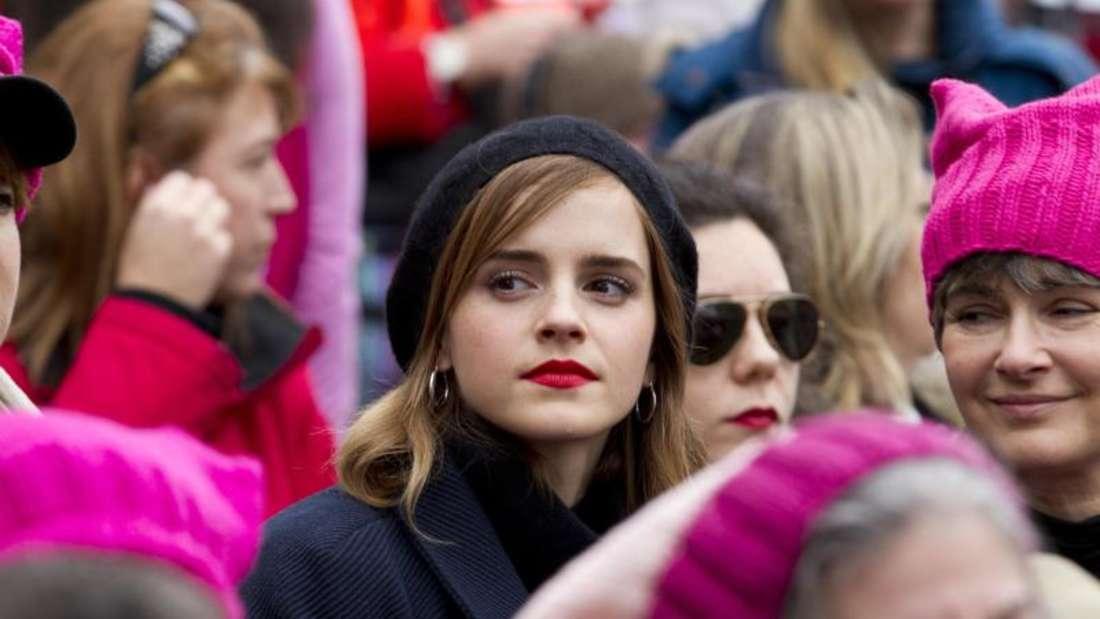 Prominenz gegenTrump:Die Schauspielerin Emma Watson nahm ebenso wie Madonna am «Marsch der Frauen» teil. Foto: Jose Luis Magana