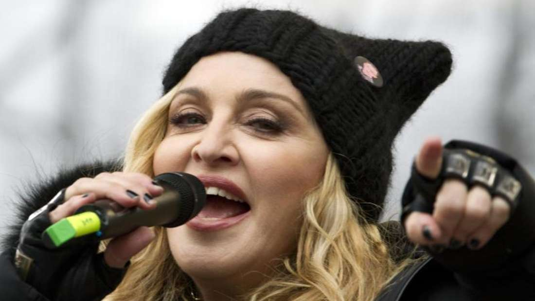 Die US-Sängerin Madonna während einer Anti-Trump-Kundgebung in Washington. Foto: Jose Luis Magana