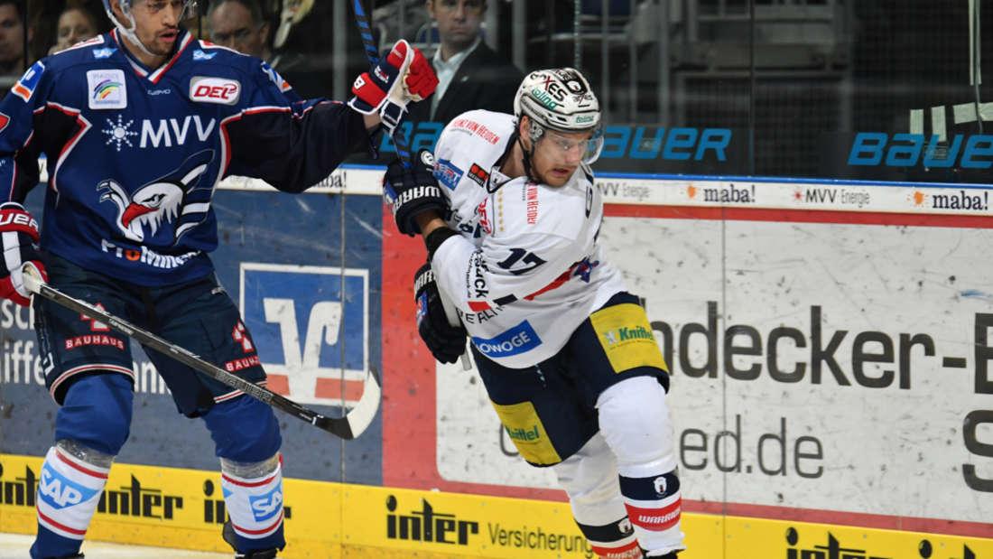 In der SAP Arena: Adler Mannheim gegen die Eisbären Berlin.