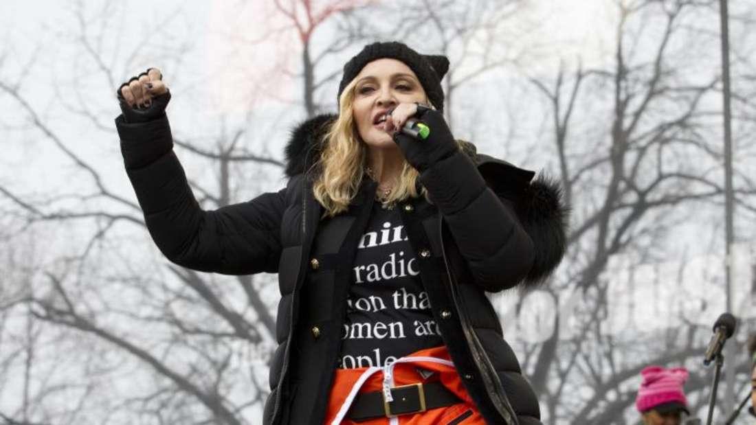 Madonna bei der Anti-Trump-Kundgebung «Marsch der Frauen». Foto: Jose Luis Magana