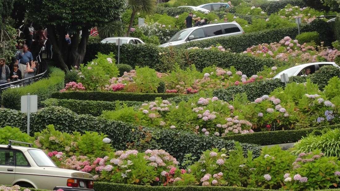 Spektakulär ist die Lombard Street inSan Francisco und daher auch so beliebt für actionreiche Filmdrehs.