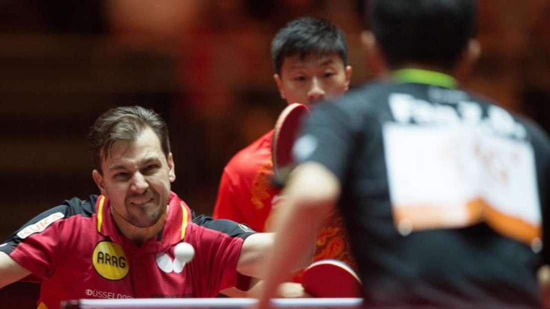 Timo Boll und sein Doppel-Partner Ma Long (M) spielten sehr stark. Aber Fan Zhendong (r) und XuXin waren noch besser. Foto: Jonas Güttler