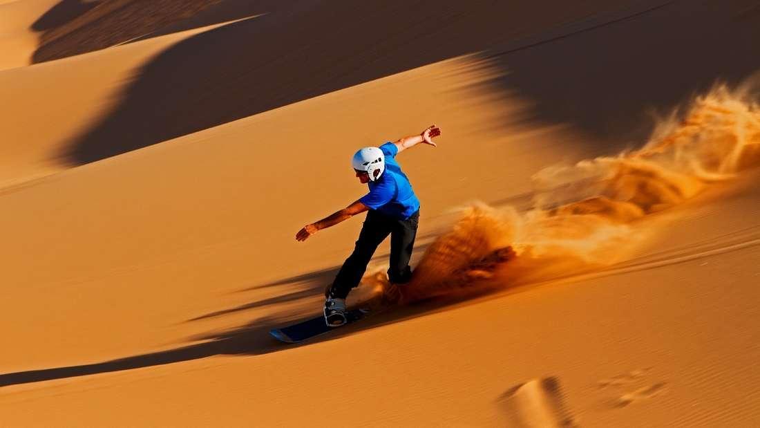 Sandboarding in Namibia.