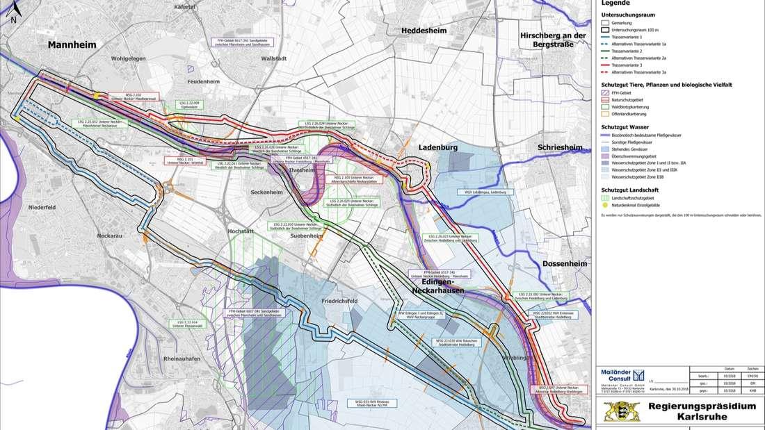 Mannheim/Heidelberg Fahrradschnellweg Trassen