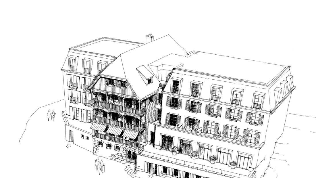 Zeichnung des Hotels am Königstuhl