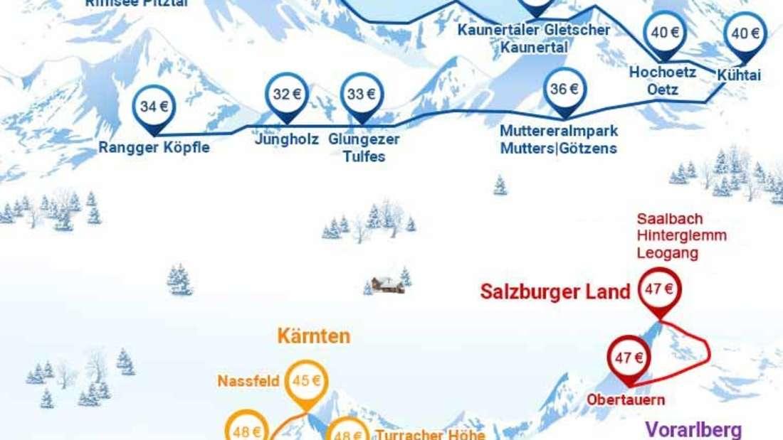 Übersicht über Österreichs günstige Skigebiete.