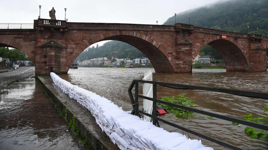 Hochwasser-Alarm in Heidelberg.
