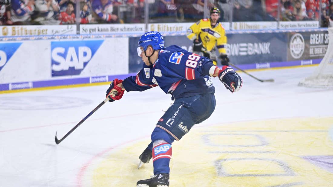 Die Adler Mannheim gewinnen gegen die Krefeld Pinguine.
