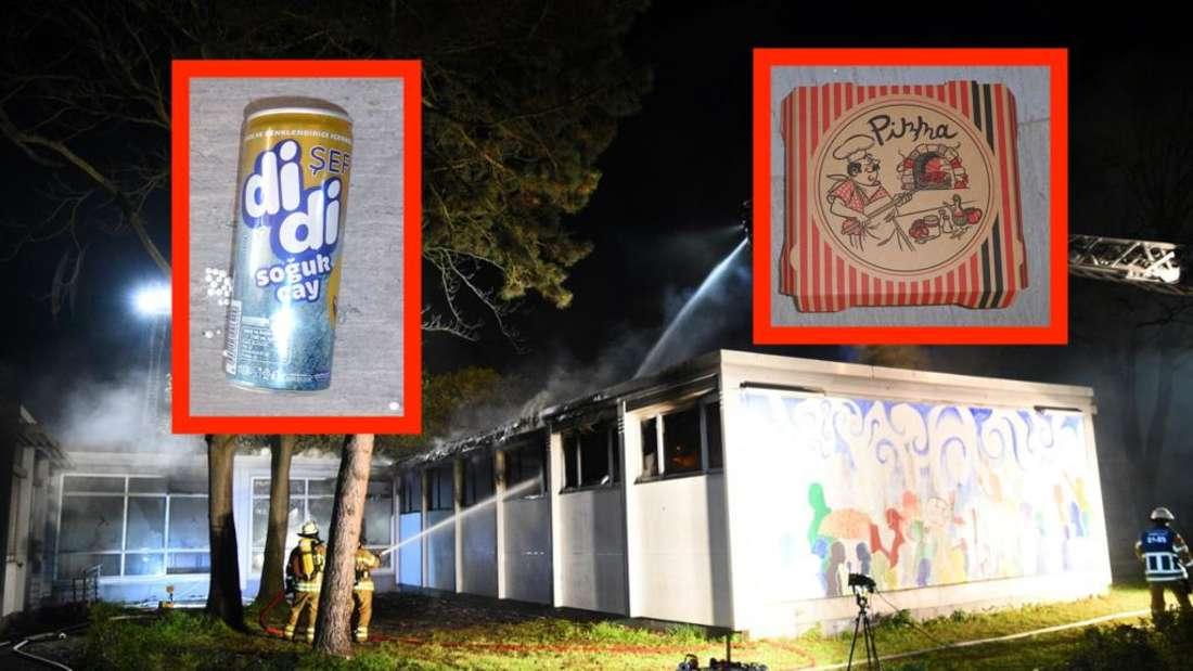 An der Brandstelle in Mannheim wurden eine Getränkedose und ein Pizzakarton gefunden.