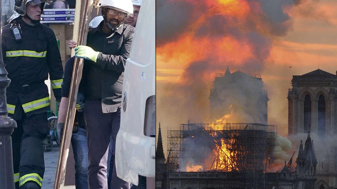 Nach dem Brand in Notre-Dame wurden am Freitag große Ölgemälde aus der Kathedrale gebracht.