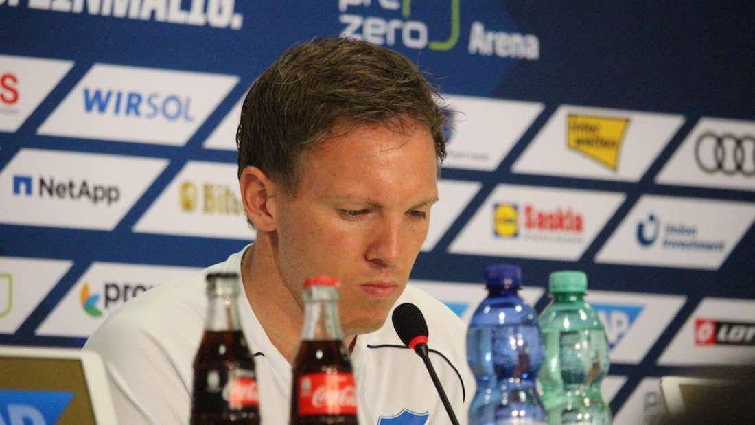 Julian Nagelsmann bei seiner letzten Spieltags-Pressekonferenz als Trainer der TSG Hoffenheim.