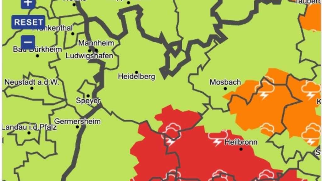 Unwetterwarnung Heidelberg