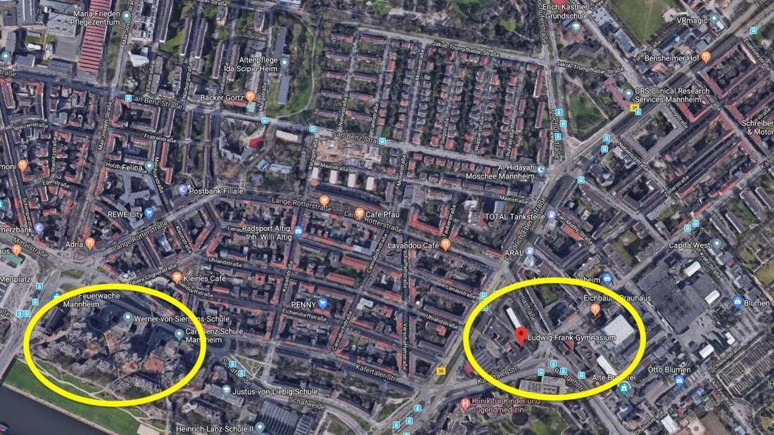Das Hochhaus (linker Kreis) wird evakuiert. Die Bewohner kommen in der Turnhalle des Ludwig-Frank-Gymnasiums (rechter Kreis) unter.