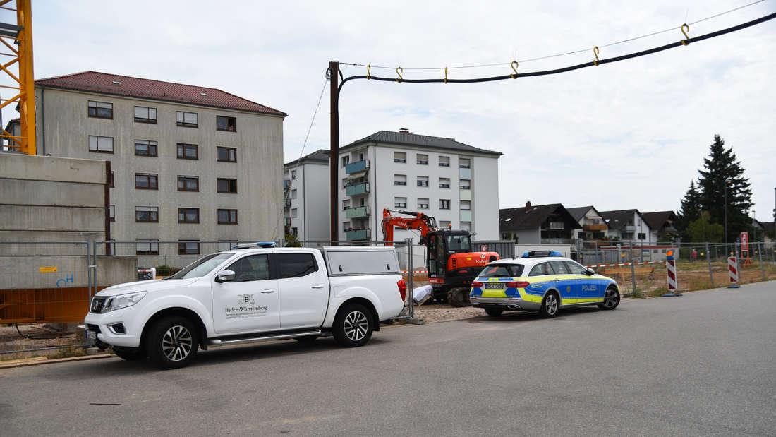 Bei Bauarbeiten in Oftersheim wird eine Flak-Granate aus dem 2. Weltkrieg gefunden.