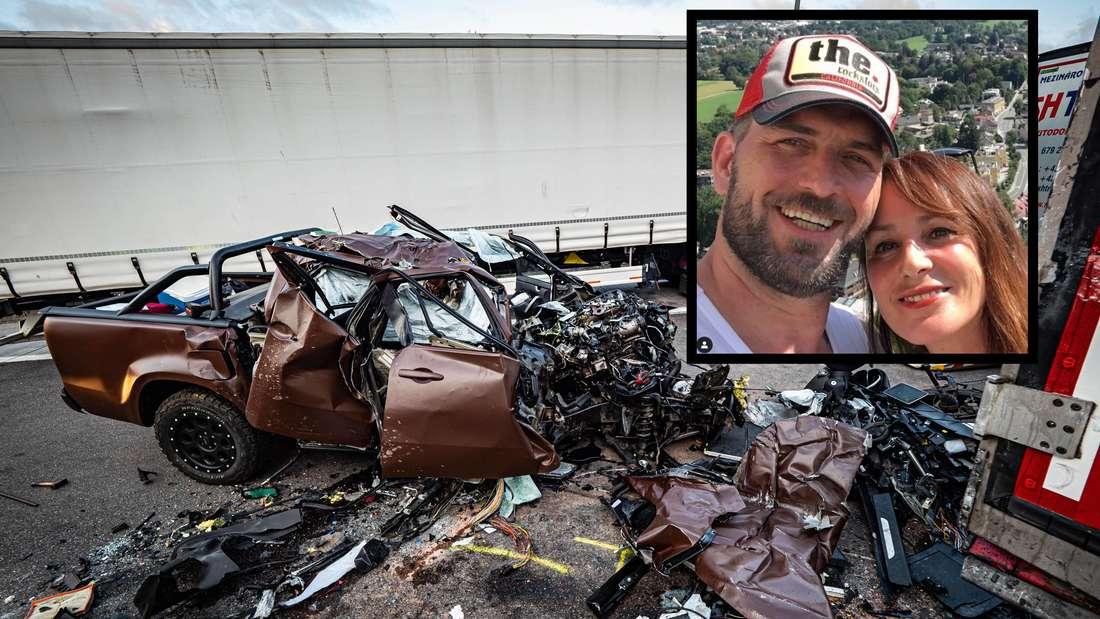 MIT TAGBILDER: Pickup fährt mit hoher Geschwindigkeit auf ParkplatzSommerhofen auf der A8, kracht ins Heck eines LKW, Beifahrer tödlichverletzt