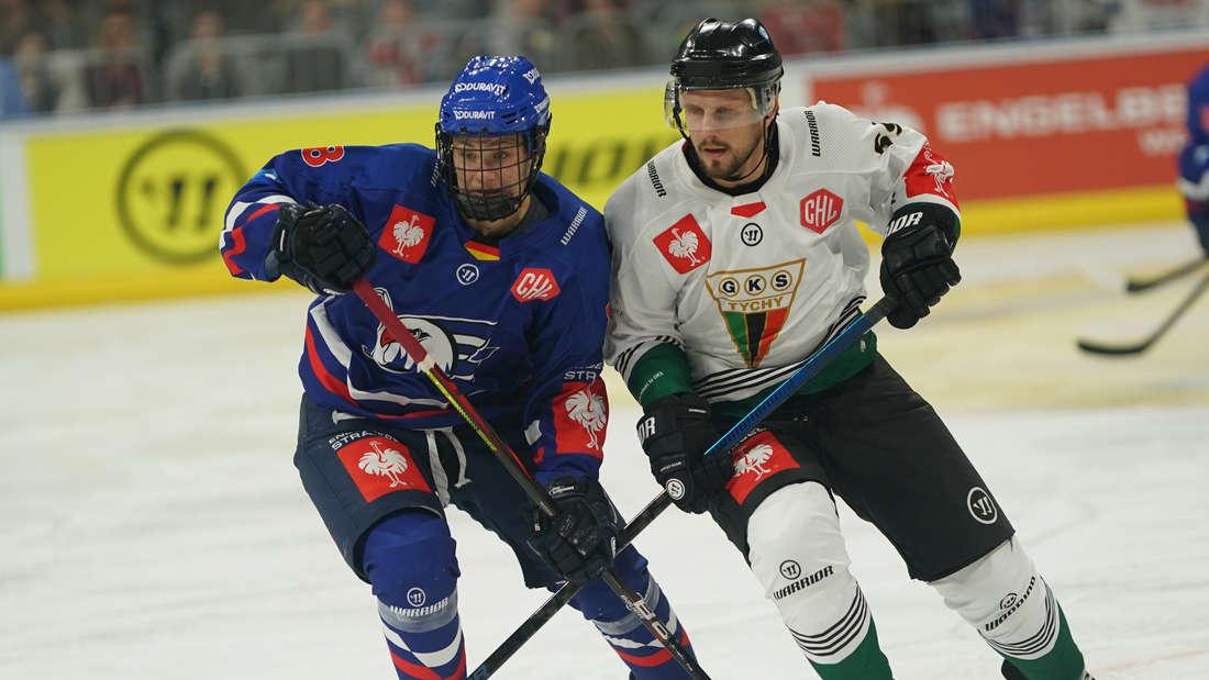 Adler Mannheim gewinnen gegen GKS Tychy.