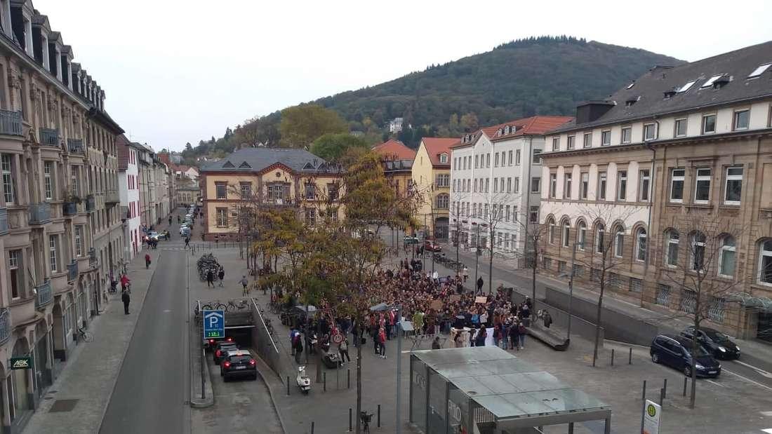 In Heidelberg demonstrieren Studenten für eine bessere Finanzierung der Hochschulen.
