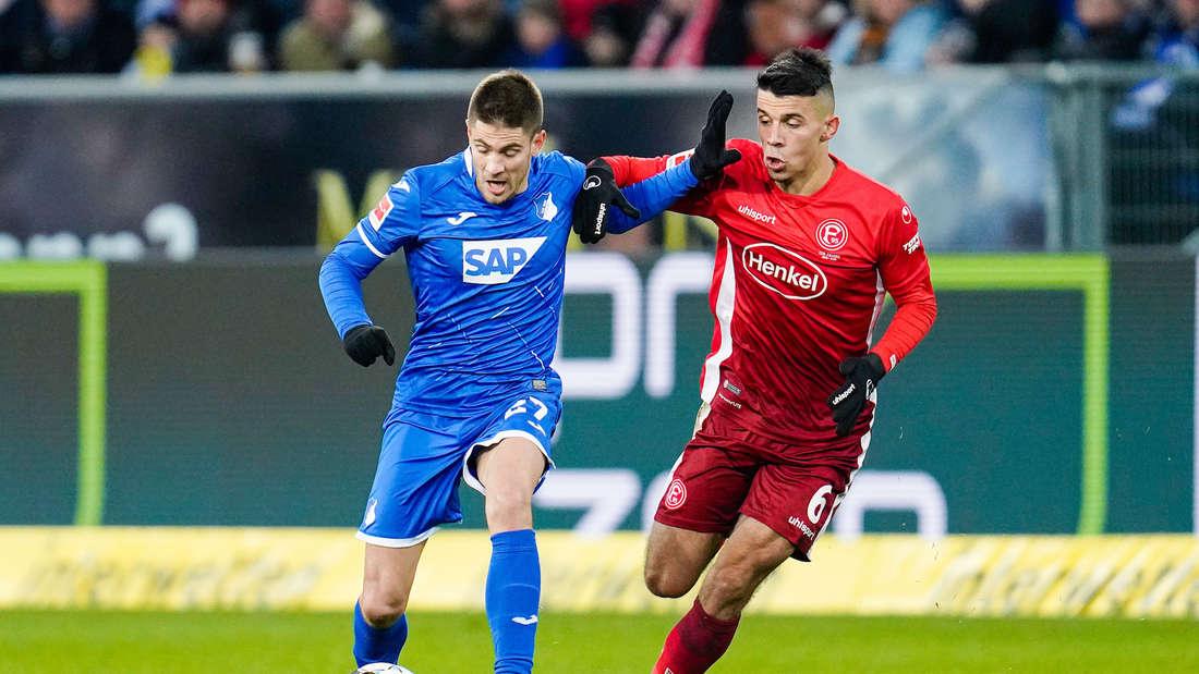 Andrej Kramaric (li.) trifft gegen Düsseldorf zum 1:0.
