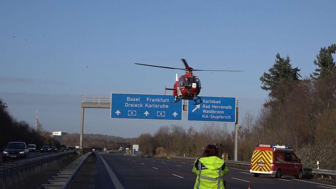 Schwerer Auffahrunfall auf der A8 bei Karlsruhe
