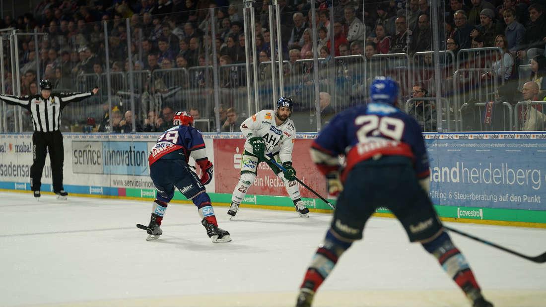 Die Adler Mannheim gewinnen gegen die Augsburger Panther.