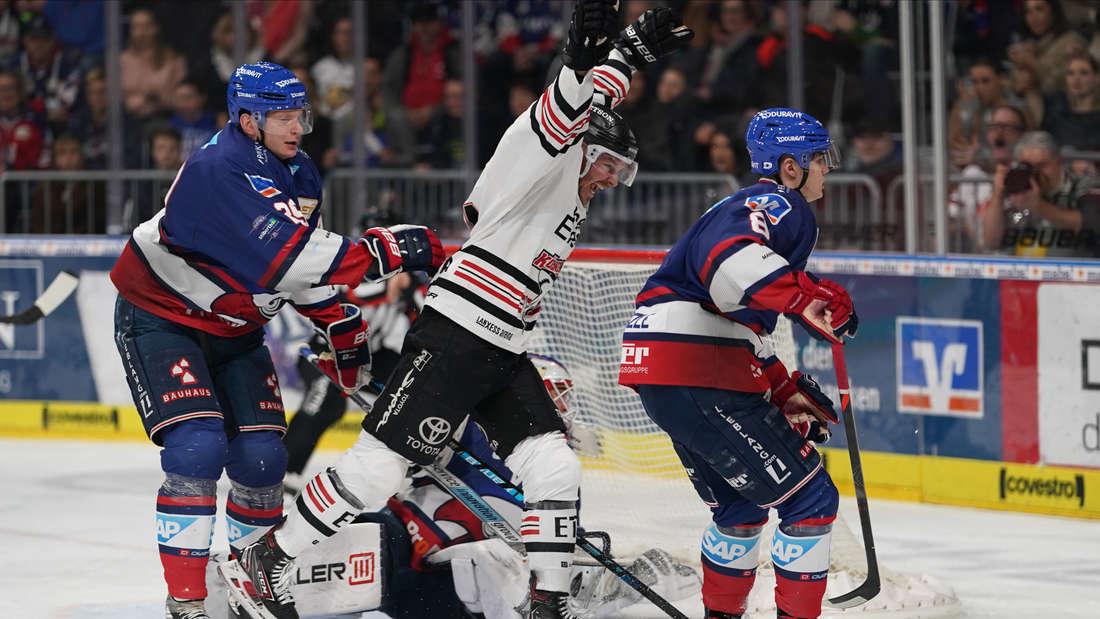 Die Adler Mannheim gewinnen mit 4:3 gegen die Kölner Haie.