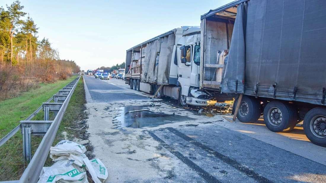 Die Unfallstelle auf der A5 bei Bruchsal