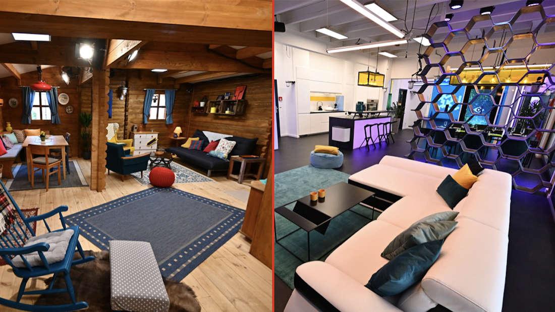 Die Big Brother-Bewohner werden in zwei Häusern untergebracht: Dem Blockhaus (links) und dem Glashaus (rechts).