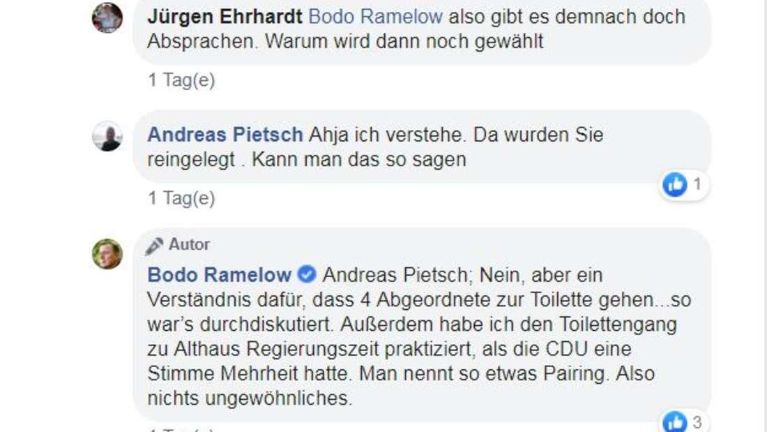 In diesem Facebook-Kommentar gibt Ramelow den Klo-Deal wohl offen zu.
