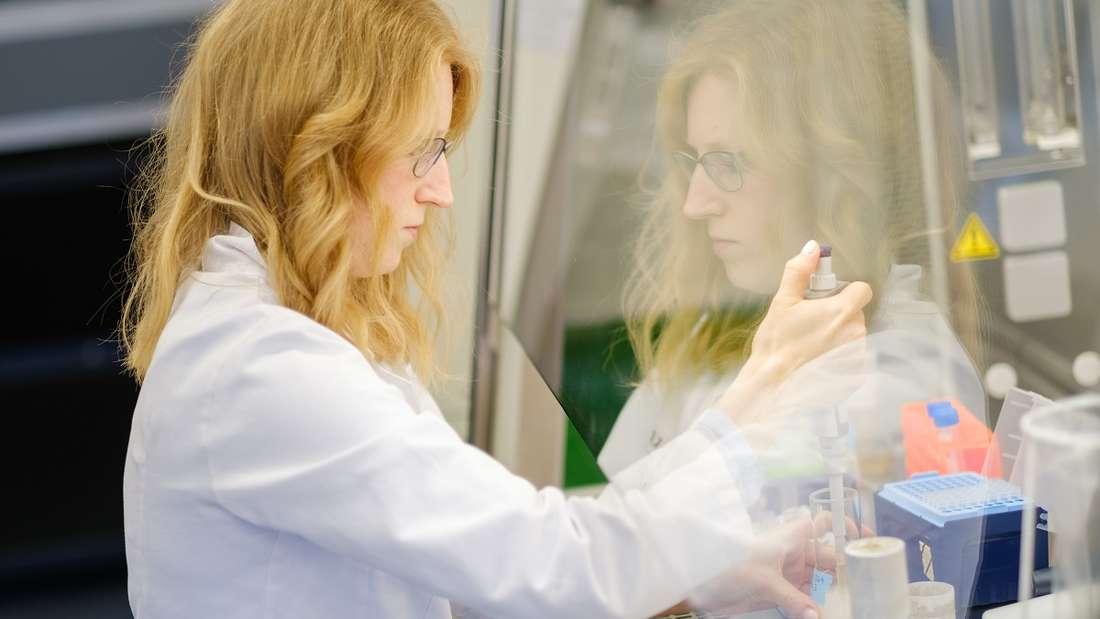 Die Wissenschaftlerin Katharina Kleilein untersucht an der Sterilbank im Labor des Life-Science-Unternehmens Yumab die optische Dichte einer Bakterienkultur. Das Startup-Unternehmen forscht wie viele andere Unternehmen zur Entwicklung menschlicher Antikörper und versucht so Medikamente gegen Covid-19 zu entwickeln.