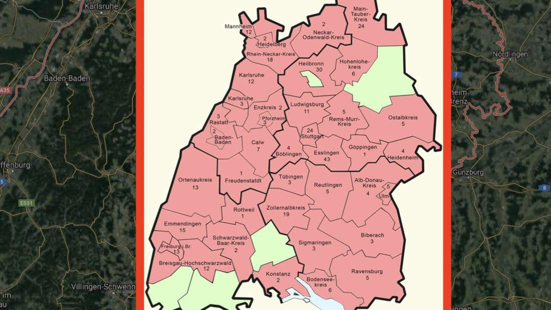 Die Ausbreitung des Coronavirus in Baden-Württemberg (Stand 11. März, 21 Uhr)