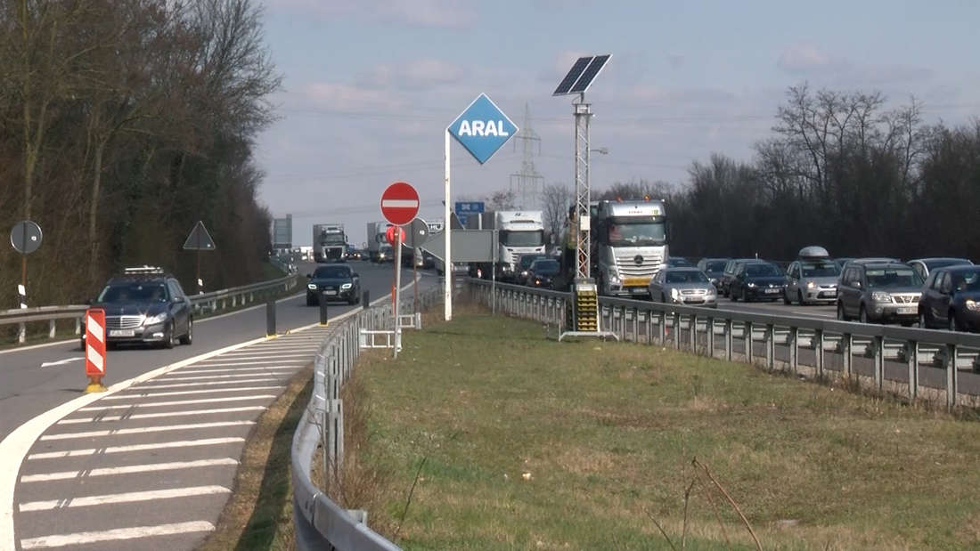 Die Autobahnen A5 und A6 rund um Heideberg und das Walldorfer Kreuz an Ostern 2020