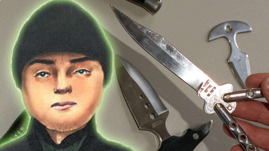 Eine Hand hält ein Messer, im Hintergrund sind weitere Messer zu sehen. Im Vordergrund ist ein Phantom-Bild eines Mannes (Montage).
