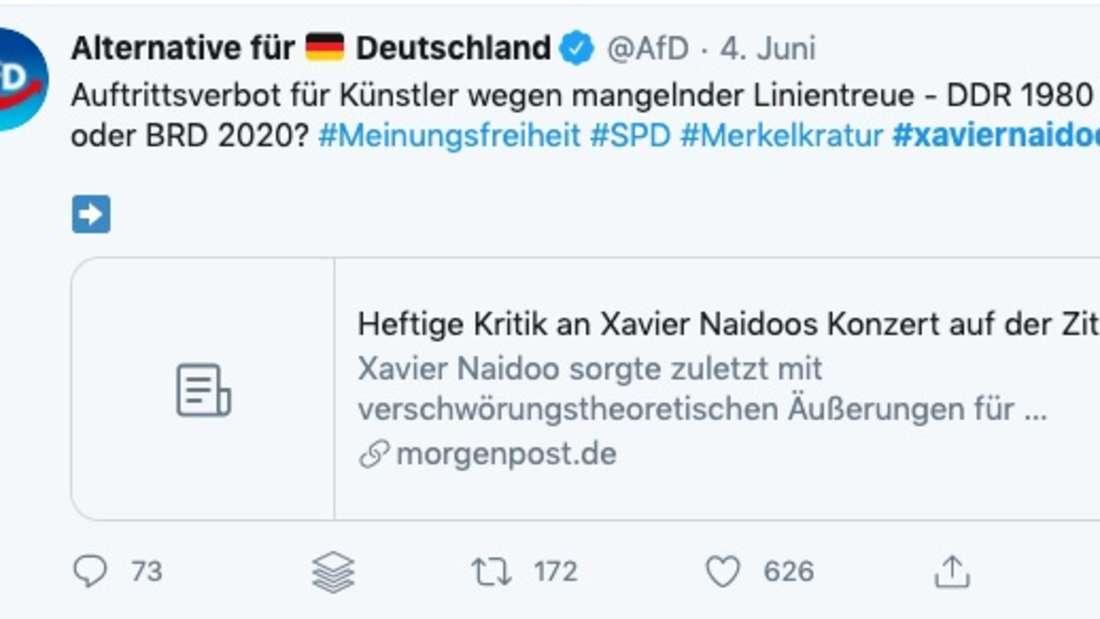 Die AfD verteidigt Xavier Naidoo– und streut Fake News.