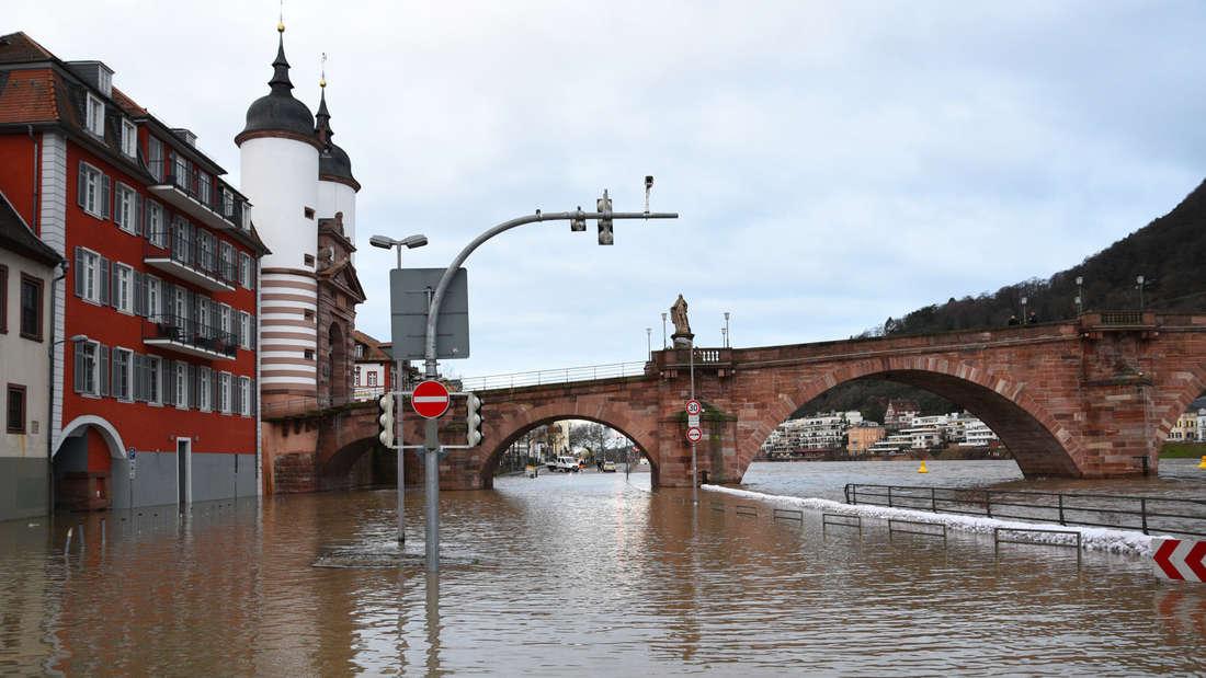 Hochwasser in Heidelberg: Der Neckar ist nach starkem Regen über die Ufer getreten.
