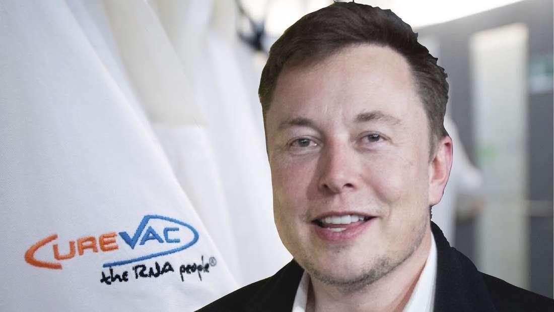 Elon Musk im Vordergrund, daneben ein Kittel mit der Aufschrift CureVac. (Fotomontage)