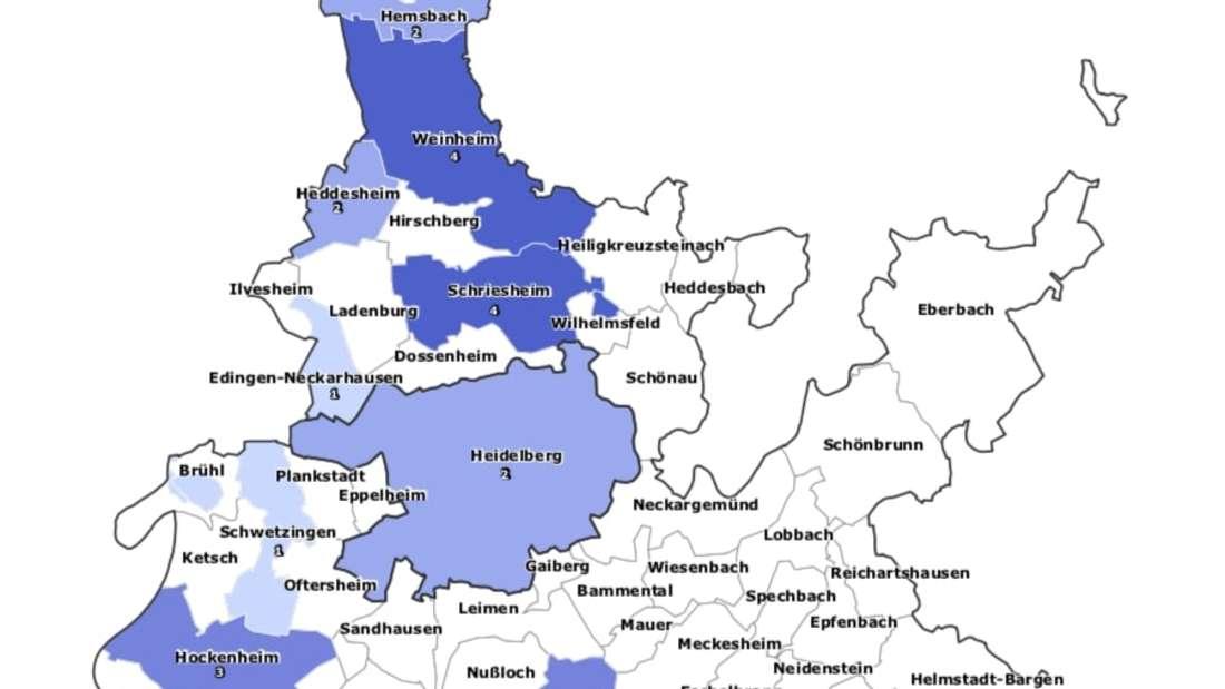 Karte der Gemeinden des Rhein-Neckar-Kreis mit Coronavirus-Fällen.