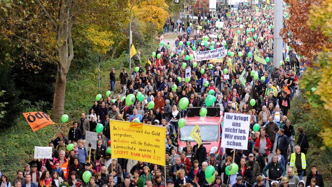 Eine Demonstration gegen Stuttgart 21