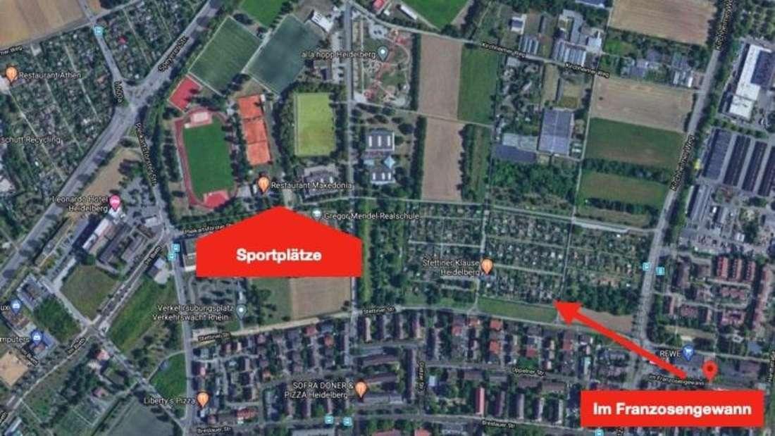 Kartenausschnitt des Heidelberger Stadtteils Kirchheim.