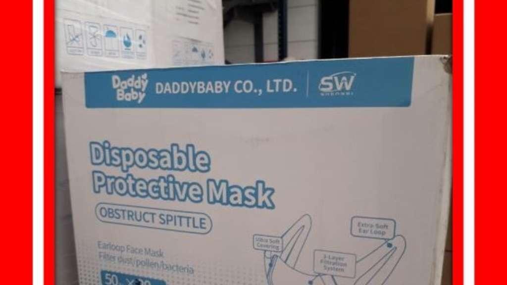 """Karton der Maske der Firma """"DADDYBABY""""."""