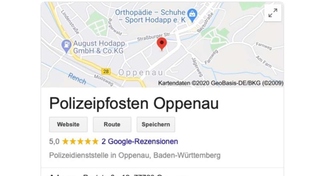 Der geänderte Google-Eintrag der Polizei Oppenau (Screenshot)