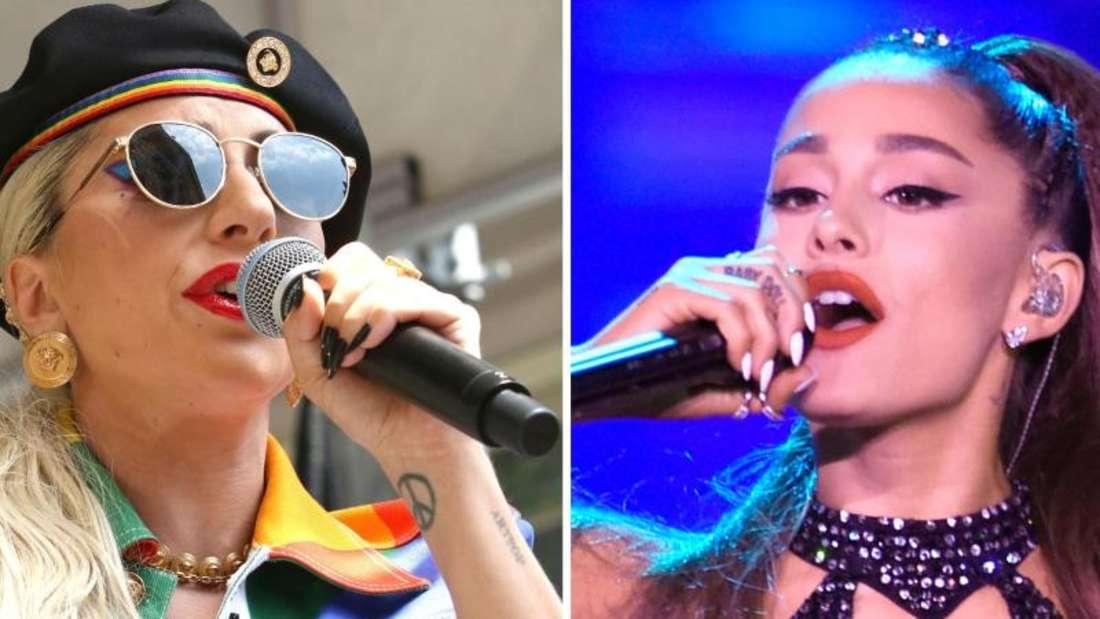 US-Sängerinnen Lady Gaga (l) und Ariana Grande (r) wollen bei den MTV Video Music Awards abräumen. Foto: Greg Allen/Chris Pizzello/Invision/AP/dpa