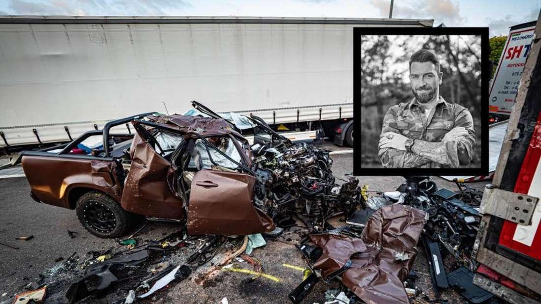 Die Unfallstelle auf der A8 am 16. August 2019 (Fotomontage)