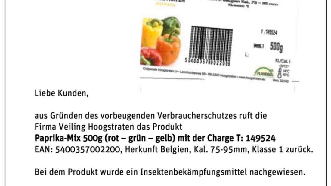 Tegut informiert die Kunden in einem Aushang über den Rückruf des Paprika-Mix.
