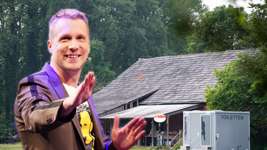 """Oliver Pocher steht vor dem """"Sommerhaus der Stars""""-Bauernhof."""