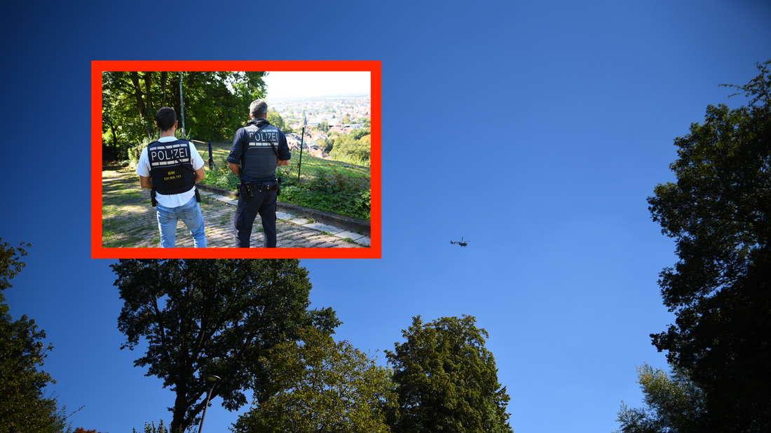Polizeihubschrauber und bewaffnete Polizisten in Heidelberg